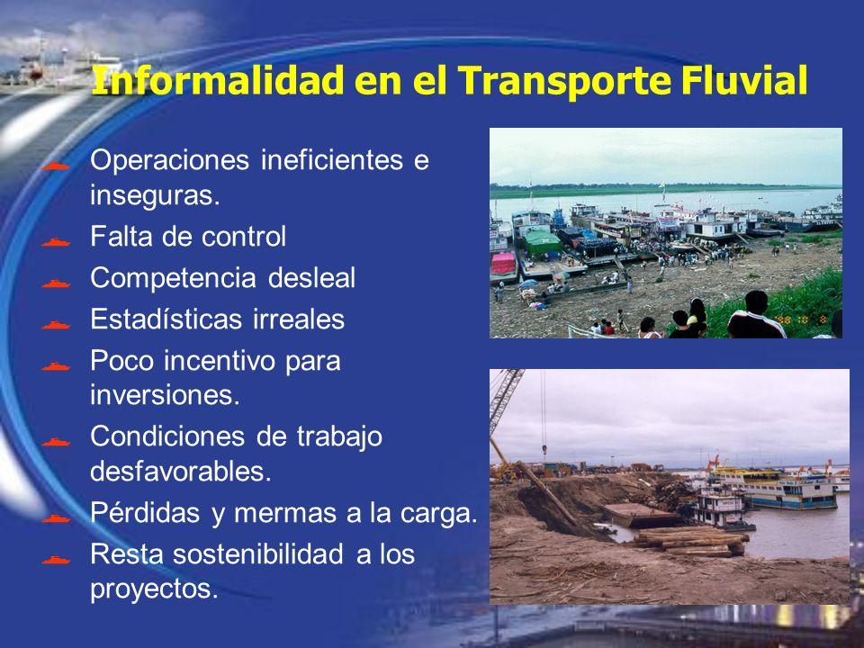 Informalidad en el Transporte Fluvial Operaciones ineficientes e inseguras. Falta de control Competencia desleal Estadísticas irreales Poco incentivo