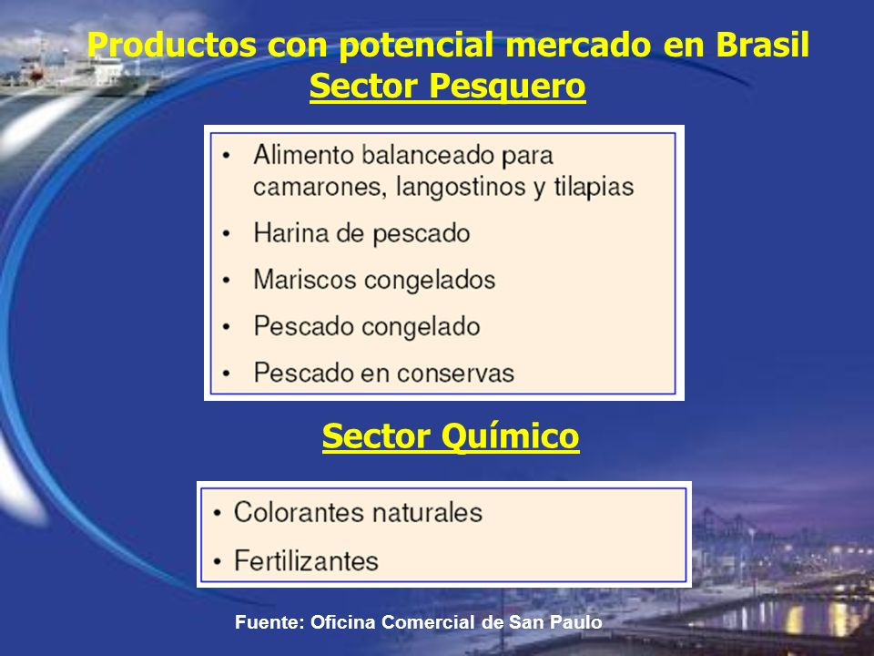 Productos con potencial mercado en Brasil Sector Pesquero Fuente: Oficina Comercial de San Paulo Sector Químico