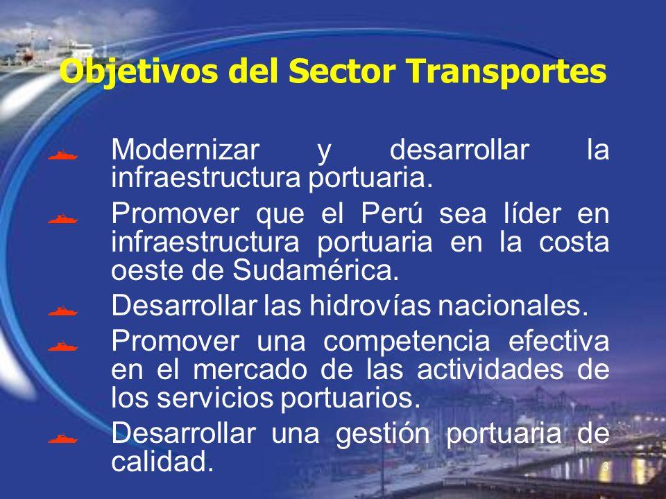 3 Objetivos del Sector Transportes Modernizar y desarrollar la infraestructura portuaria. Promover que el Perú sea líder en infraestructura portuaria