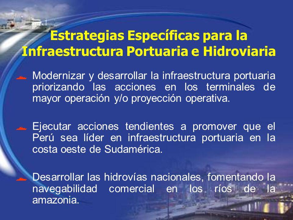 Estrategias Específicas para la Infraestructura Portuaria e Hidroviaria Modernizar y desarrollar la infraestructura portuaria priorizando las acciones