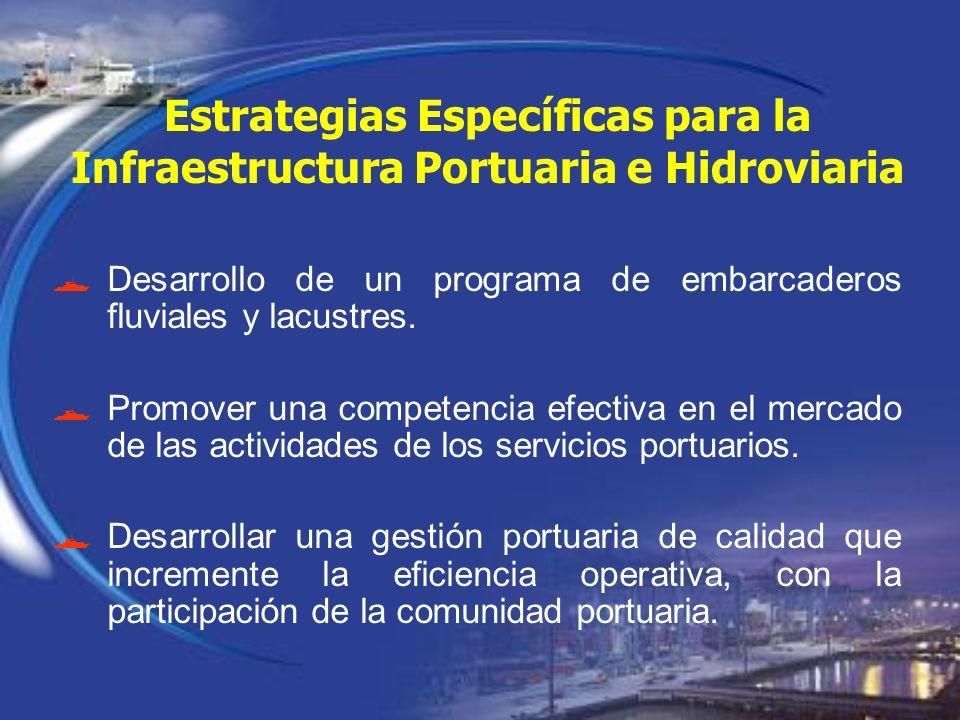 Desarrollo de un programa de embarcaderos fluviales y lacustres. Promover una competencia efectiva en el mercado de las actividades de los servicios p