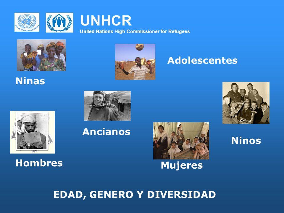 UNHCR United Nations High Commissioner for Refugees Ninas Ancianos Mujeres Ninos Hombres Adolescentes EDAD, GENERO Y DIVERSIDAD