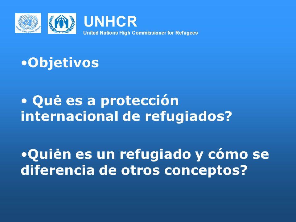 UNHCR United Nations High Commissioner for Refugees Objetivos Quė es a protección internacional de refugiados? Quiėn es un refugiado y cómo se diferen