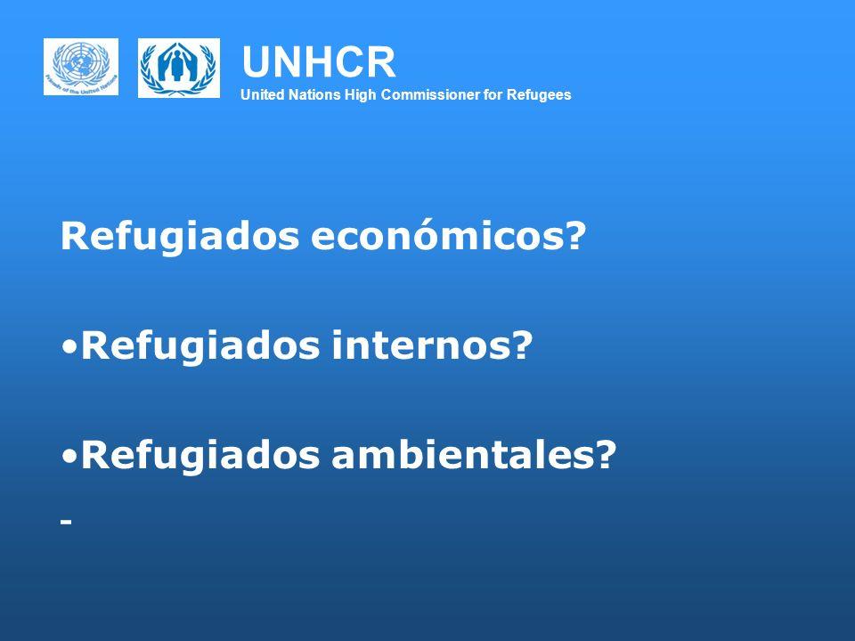 UNHCR United Nations High Commissioner for Refugees Refugiados económicos? Refugiados internos? Refugiados ambientales? -