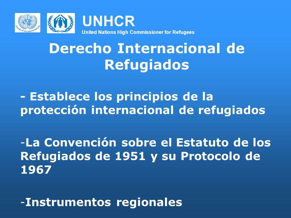 UNHCR United Nations High Commissioner for Refugees Derecho Internacional de Refugiados - Establece los principios de la protección internacional de r