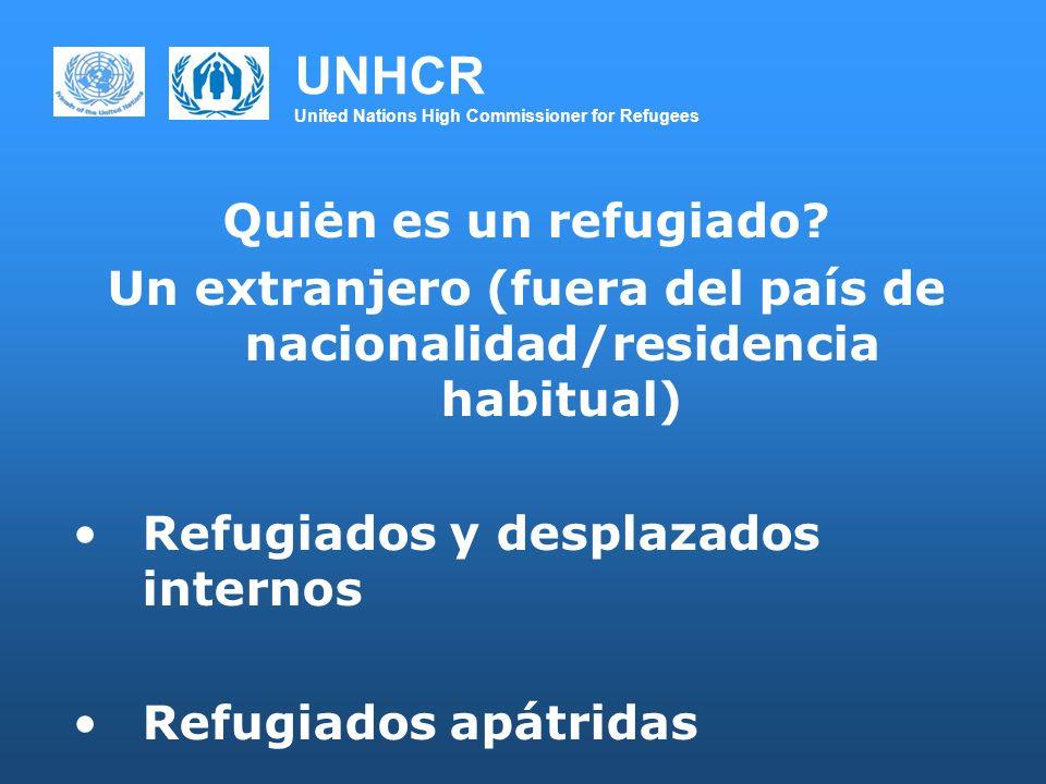 UNHCR United Nations High Commissioner for Refugees Quiėn es un refugiado? Un extranjero (fuera del país de nacionalidad/residencia habitual) Refugiad