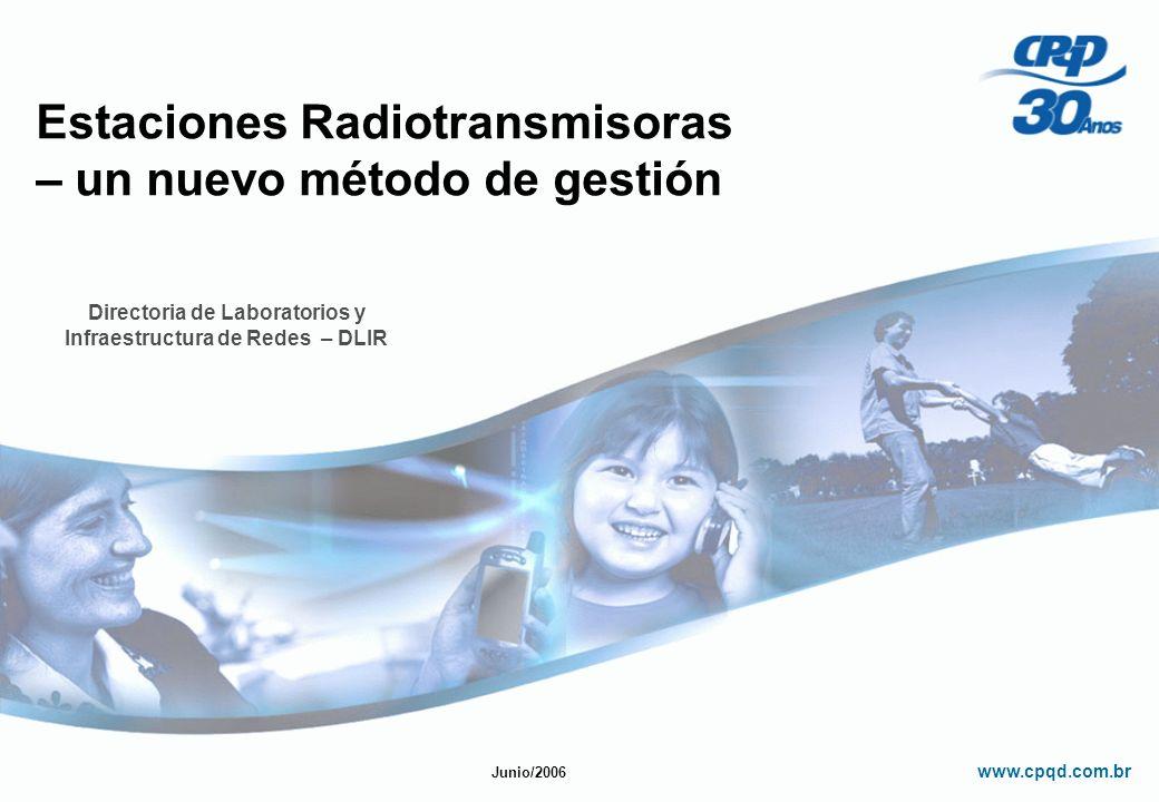 www.cpqd.com.br Estaciones Radiotransmisoras – un nuevo método de gestión Directoria de Laboratorios y Infraestructura de Redes – DLIR Junio/2006