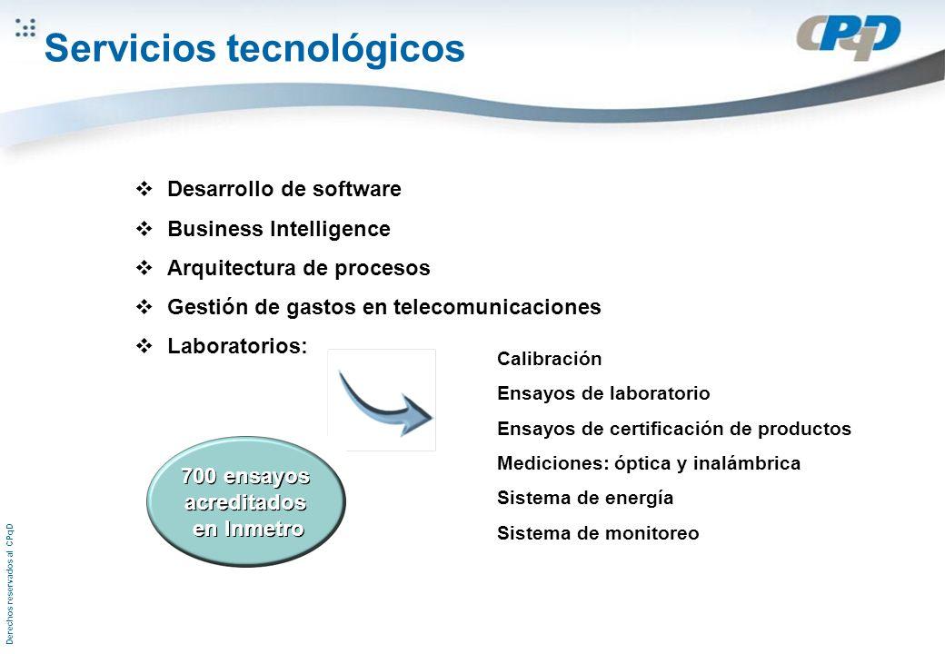 Derechos reservados al CPqD Desarrollo de software Business Intelligence Arquitectura de procesos Gestión de gastos en telecomunicaciones Laboratorios