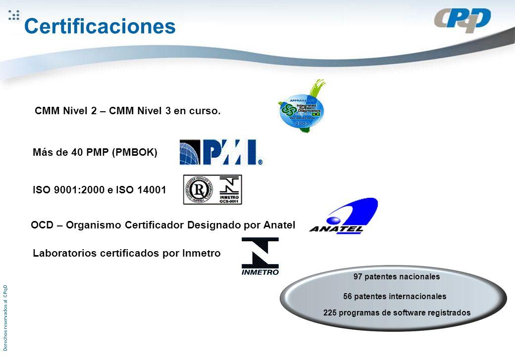 Derechos reservados al CPqD CMM Nivel 2 – CMM Nivel 3 en curso. Más de 40 PMP (PMBOK) ISO 9001:2000 e ISO 14001 OCD – Organismo Certificador Designado