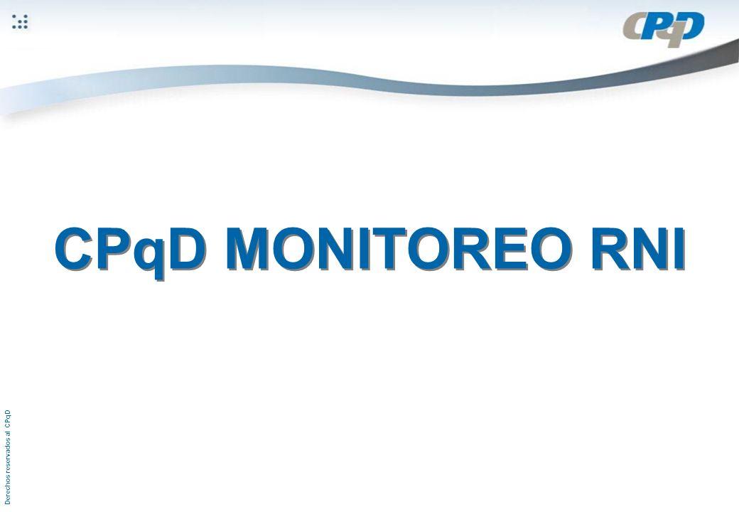 Derechos reservados al CPqD CPqD MONITOREO RNI