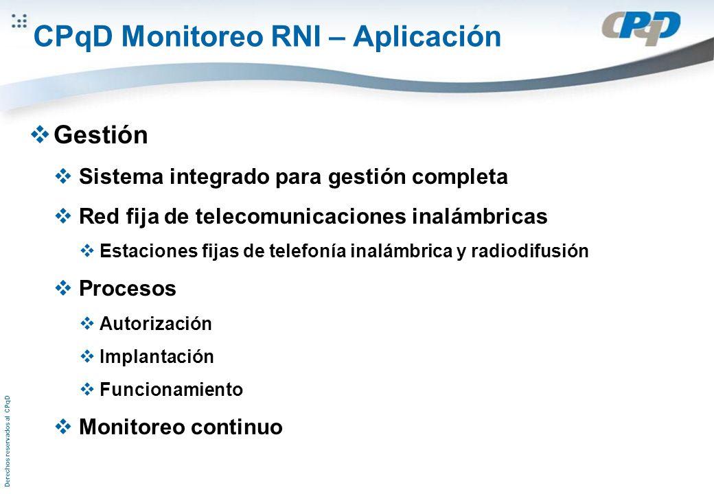 Derechos reservados al CPqD CPqD Monitoreo RNI – Aplicación Gestión Sistema integrado para gestión completa Red fija de telecomunicaciones inalámbrica
