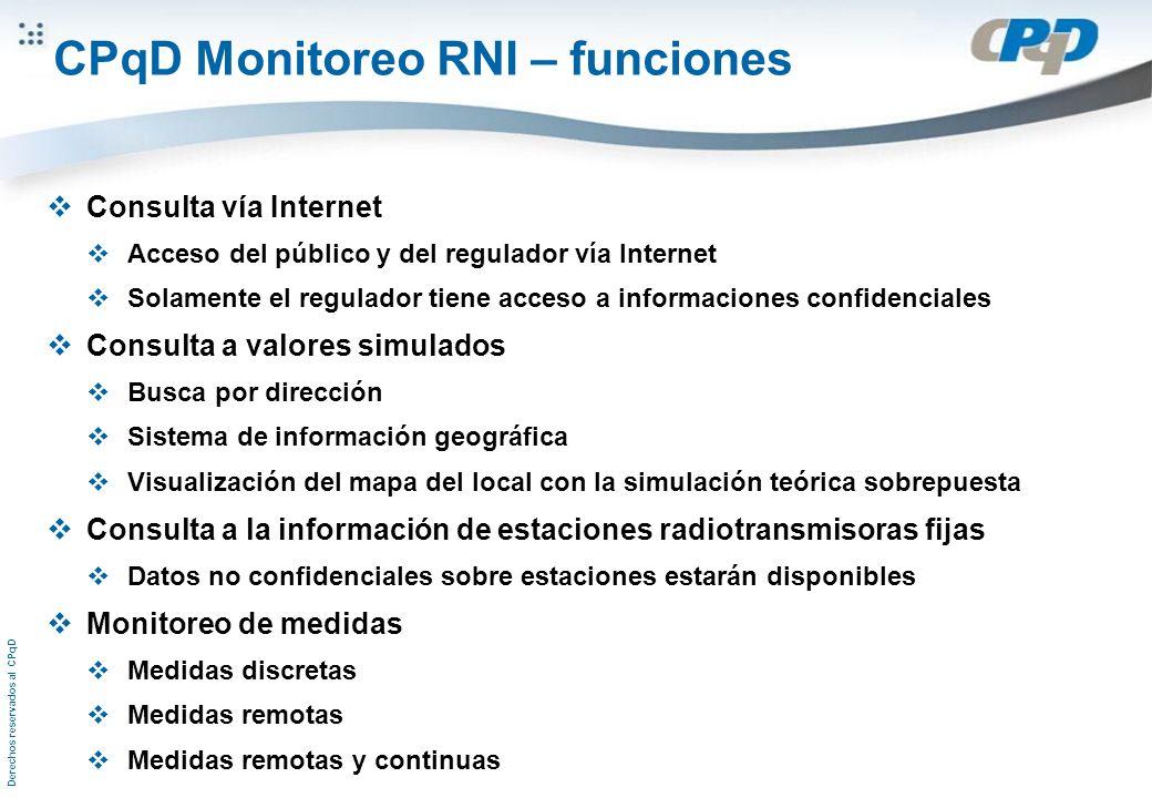 Derechos reservados al CPqD CPqD Monitoreo RNI – funciones Consulta vía Internet Acceso del público y del regulador vía Internet Solamente el regulado