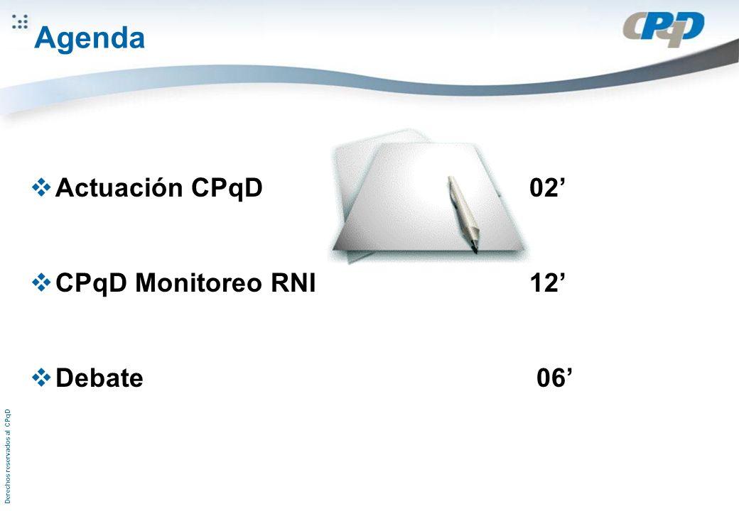 Derechos reservados al CPqD Agenda Actuación CPqD 02 CPqD Monitoreo RNI 12 Debate 06