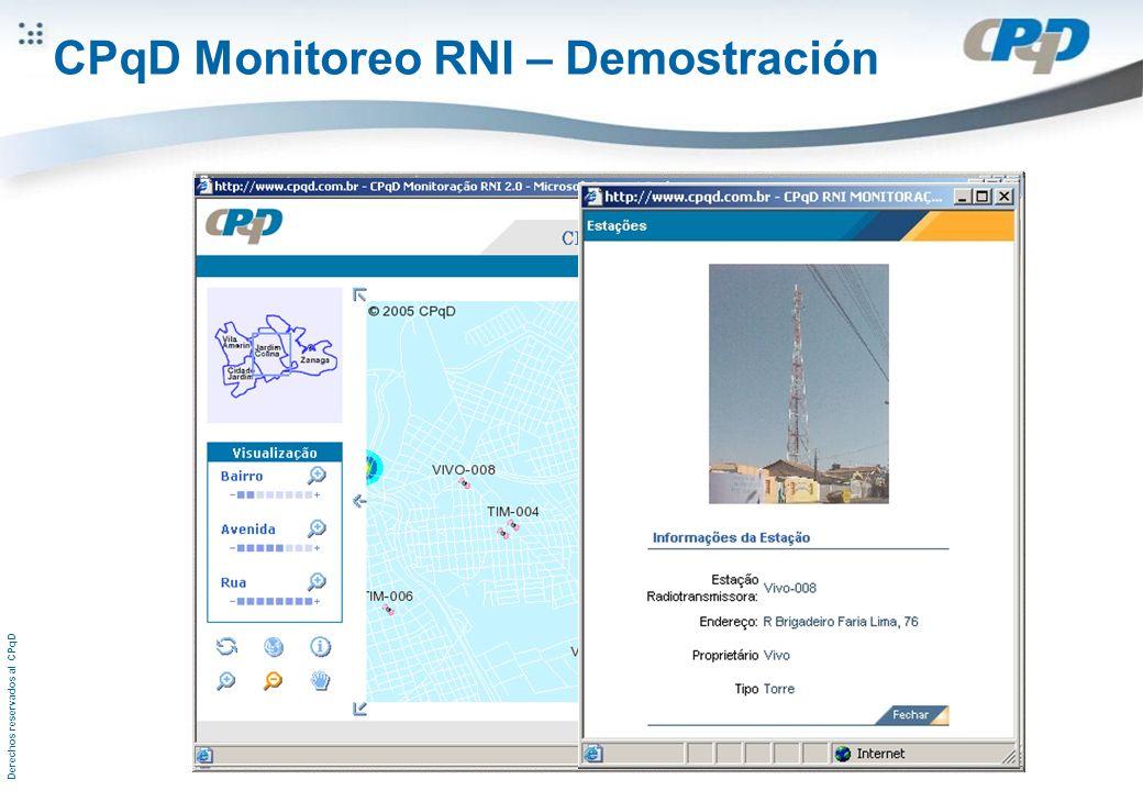 Derechos reservados al CPqD CPqD Monitoreo RNI – Demostración