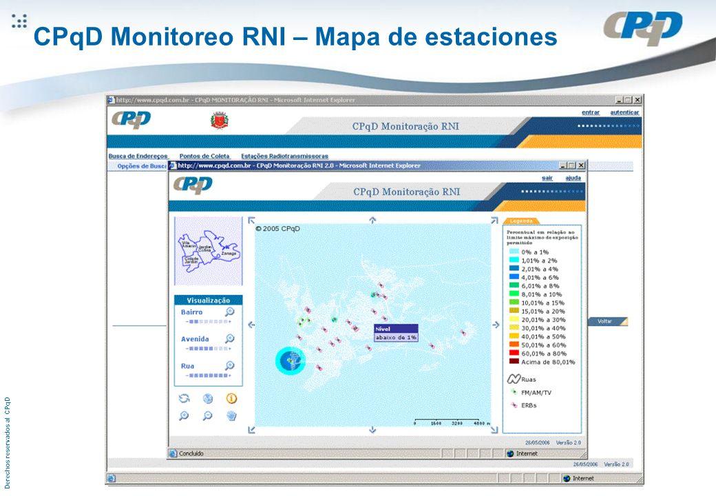 Derechos reservados al CPqD CPqD Monitoreo RNI – Mapa de estaciones