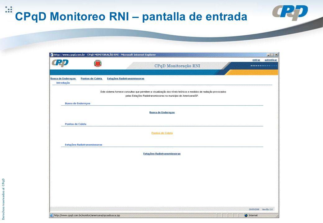 Derechos reservados al CPqD CPqD Monitoreo RNI – pantalla de entrada
