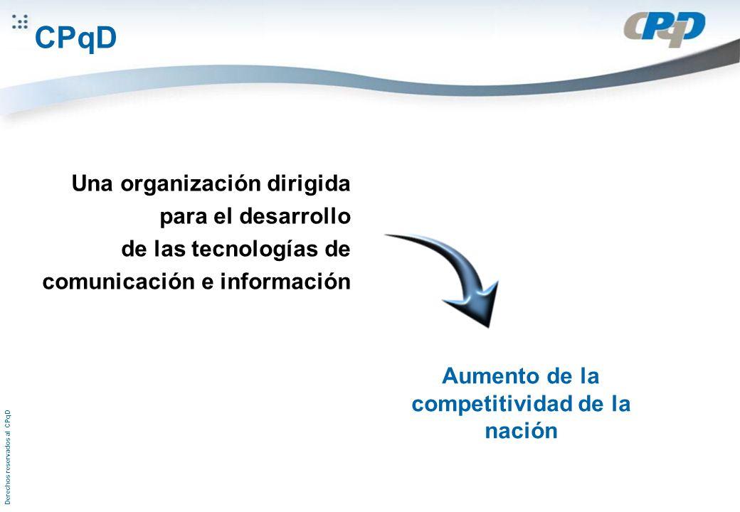 Derechos reservados al CPqD Una organización dirigida para el desarrollo de las tecnologías de comunicación e información Aumento de la competitividad de la nación CPqD