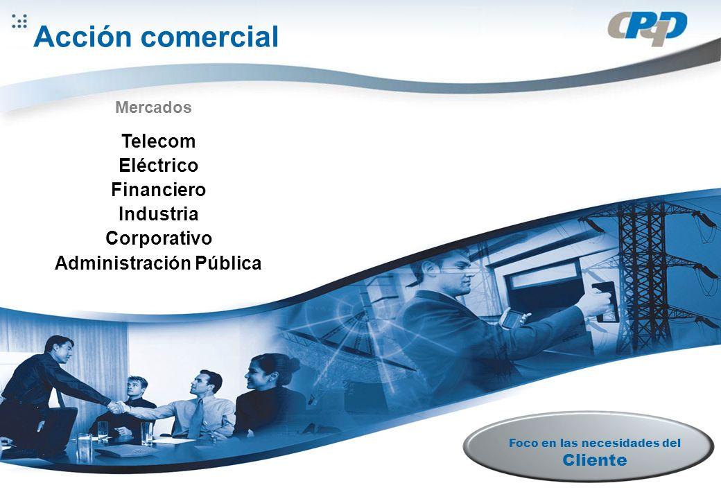 Derechos reservados al CPqD Ação Comercial Telecom Eléctrico Financiero Industria Corporativo Administración Pública Mercados Foco en las necesidades del Cliente Acción comercial