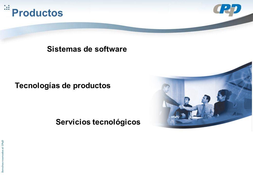 Derechos reservados al CPqD Sistemas de software Tecnologías de productos Servicios tecnológicos Productos