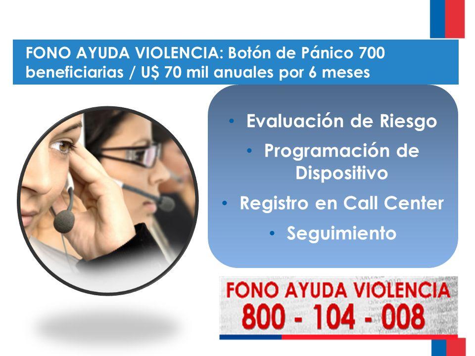 FONO AYUDA VIOLENCIA: Botón de Pánico 700 beneficiarias / U$ 70 mil anuales por 6 meses Evaluación de Riesgo Programación de Dispositivo Registro en Call Center Seguimiento