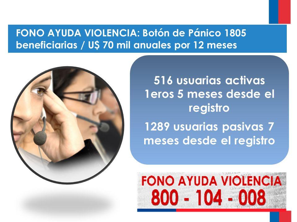 FONO AYUDA VIOLENCIA: Botón de Pánico 1805 beneficiarias / U$ 70 mil anuales por 12 meses 516 usuarias activas 1eros 5 meses desde el registro 1289 usuarias pasivas 7 meses desde el registro