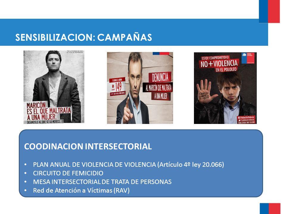 SENSIBILIZACION: CAMPAÑAS SENSIBILIZACION: co COODINACION INTERSECTORIAL PLAN ANUAL DE VIOLENCIA DE VIOLENCIA (Artículo 4º ley 20.066) CIRCUITO DE FEMICIDIO MESA INTERSECTORIAL DE TRATA DE PERSONAS Red de Atención a Víctimas (RAV)
