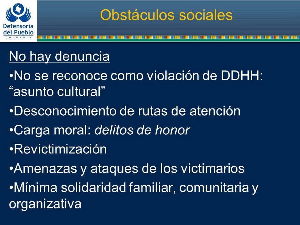 Obstáculos sociales No hay denuncia No se reconoce como violación de DDHH:asunto cultural Desconocimiento de rutas de atención Carga moral: delitos de
