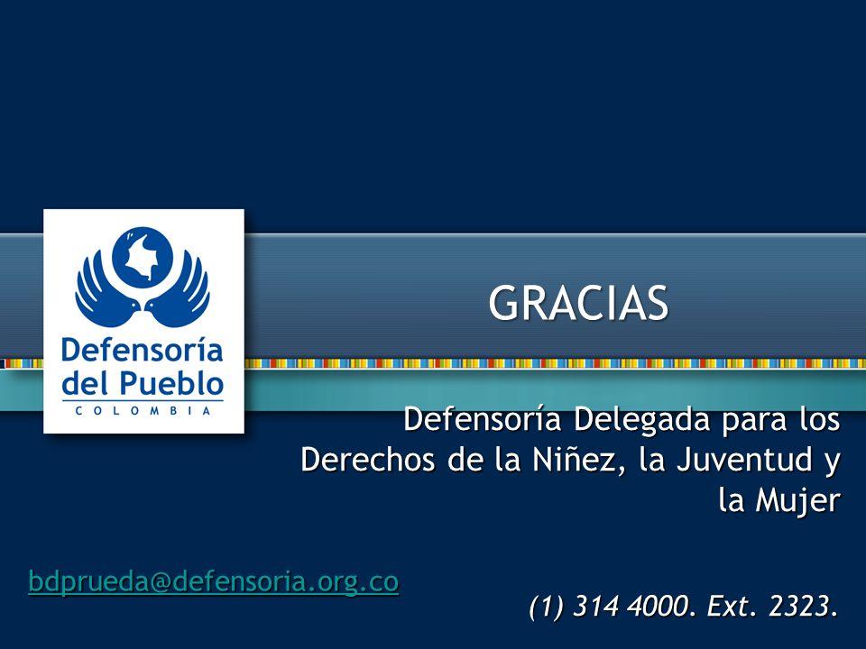 Defensoría Delegada para los Derechos de la Niñez, la Juventud y la Mujer (1) 314 4000. Ext. 2323. bdprueda@defensoria.org.co GRACIAS