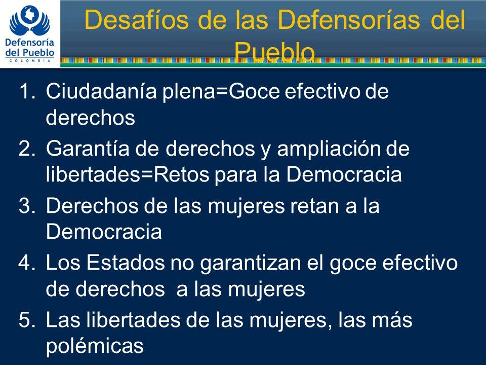 Desafíos de las Defensorías del Pueblo 1.Ciudadanía plena=Goce efectivo de derechos 2.Garantía de derechos y ampliación de libertades=Retos para la De