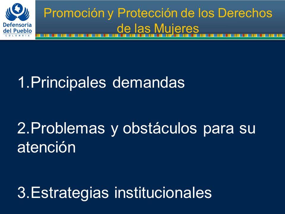Promoción y Protección de los Derechos de las Mujeres 1.Principales demandas 2.Problemas y obstáculos para su atención 3.Estrategias institucionales