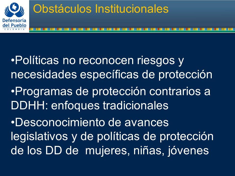 Obstáculos Institucionales Políticas no reconocen riesgos y necesidades específicas de protección Programas de protección contrarios a DDHH: enfoques