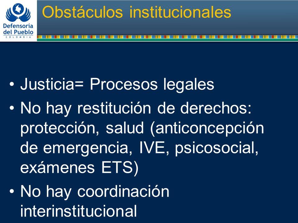 Obstáculos institucionales Justicia= Procesos legales No hay restitución de derechos: protección, salud (anticoncepción de emergencia, IVE, psicosocia