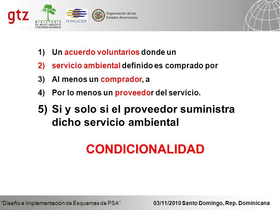 Mecanismo de remuneración Diseño e Implementación de Esquemas de PSA 03/11/2010 Santo Domingo, Rep.