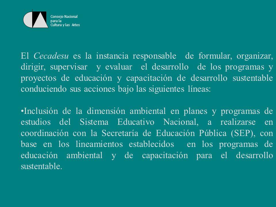 Consejo Nacional para la Cultura y las Artes Coordinación de actividades de educación y capacitación promovidas por otras áreas de la Secretaría y de sus órganos administrativos desconcentrados, a partir de estrategias y procedimientos previamente definidos con las partes.