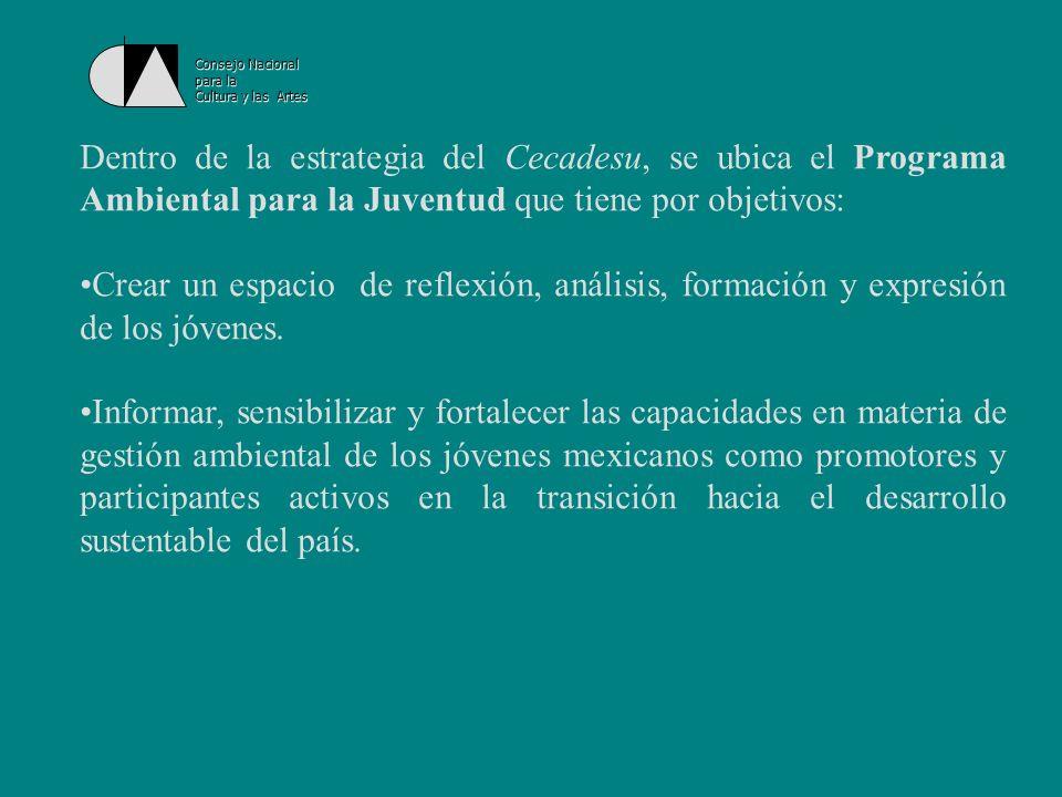 Consejo Nacional para la Cultura y las Artes Estrategias: Establecer mecanismos de apoyo para el servicio social comunitario enfocado al desarrollo de actividades de asesoría de procesos productivos sustentables y labores de restauración ambiental.