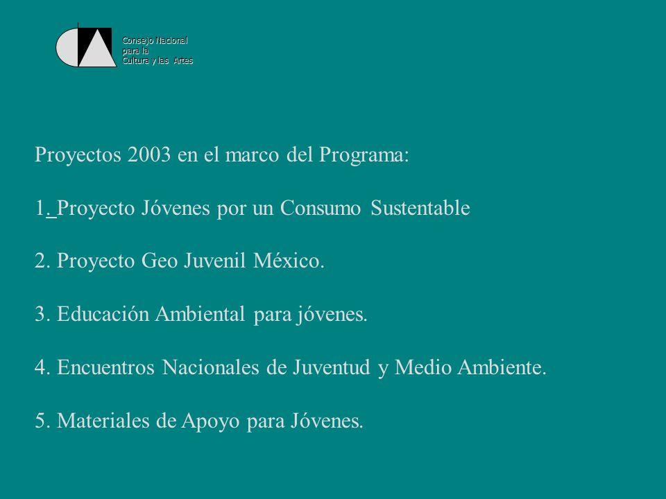 Consejo Nacional para la Cultura y las Artes Proyecto Geo Juvenil México: el proyecto más importante sobre juventud y medio ambiente en México.