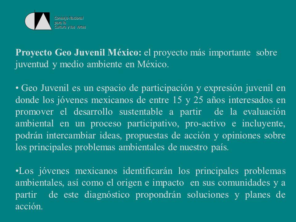 Consejo Nacional para la Cultura y las Artes Este proyecto es coordinado conjuntamente por el Programa de las Naciones Unidas para el Medio Ambiente (PNUMA), la Secretaría de Medio Ambiente y Recursos Naturales (Semarnat), a través del Centro de Educación y Capacitación para el Desarrollo Sustentable (Cecadesu), el Instituto Mexicano de la Juventud (IMJ) y la Red Ambiental Juvenil de México (RAJ).