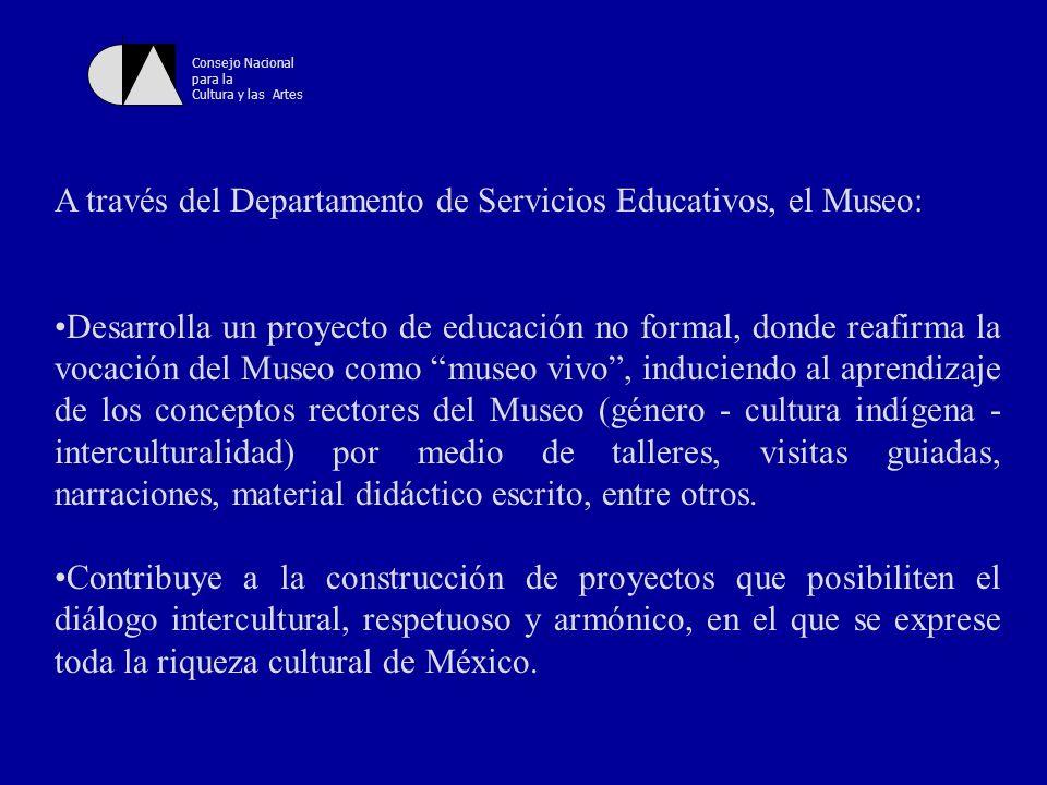 Consejo Nacional para la Cultura y las Artes Se han establecido una serie de condiciones para la efectividad en la función educativa del Museo que se puede sintetizar en tres puntos: 1.