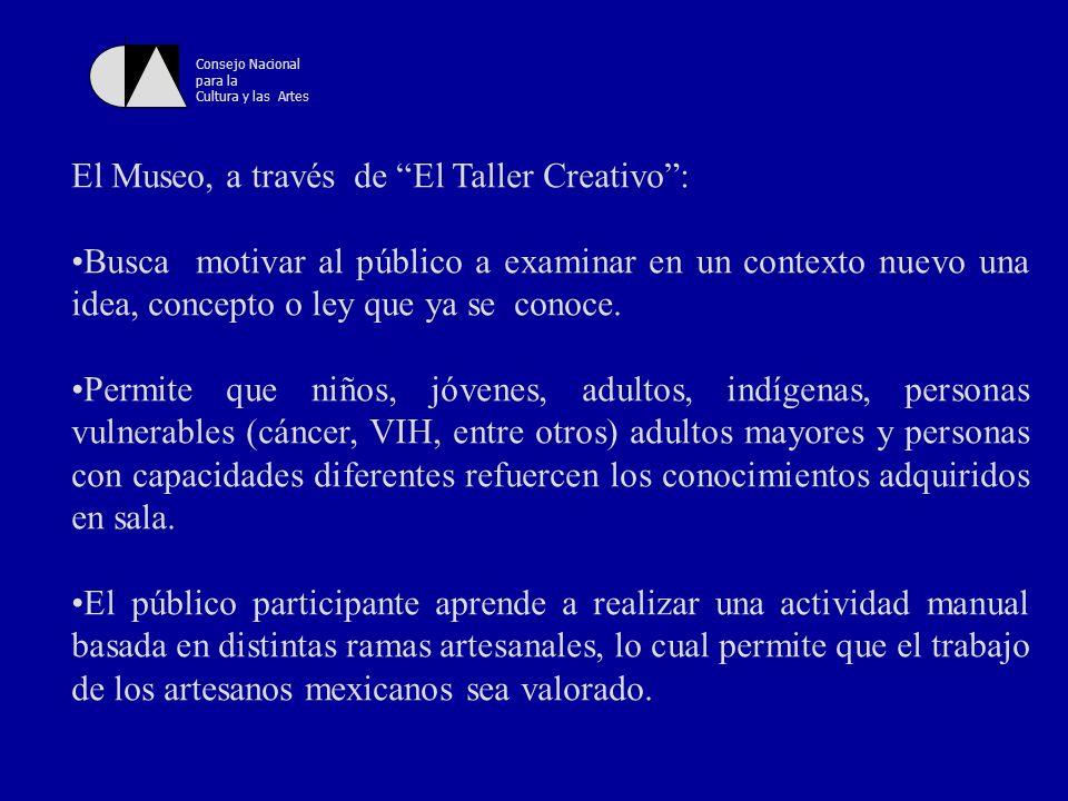 Consejo Nacional para la Cultura y las Artes Permite el desarrollo de habilidades cognitivas, creativas, imaginativas psicomotrices, entre otras, en el público participante.