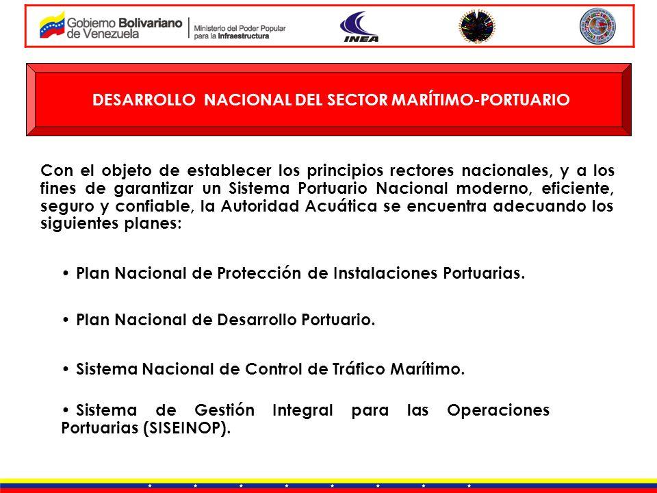 DESARROLLO NACIONAL DEL SECTOR MARÍTIMO-PORTUARIO Plan Nacional de Protección de Instalaciones Portuarias. Plan Nacional de Desarrollo Portuario. Con