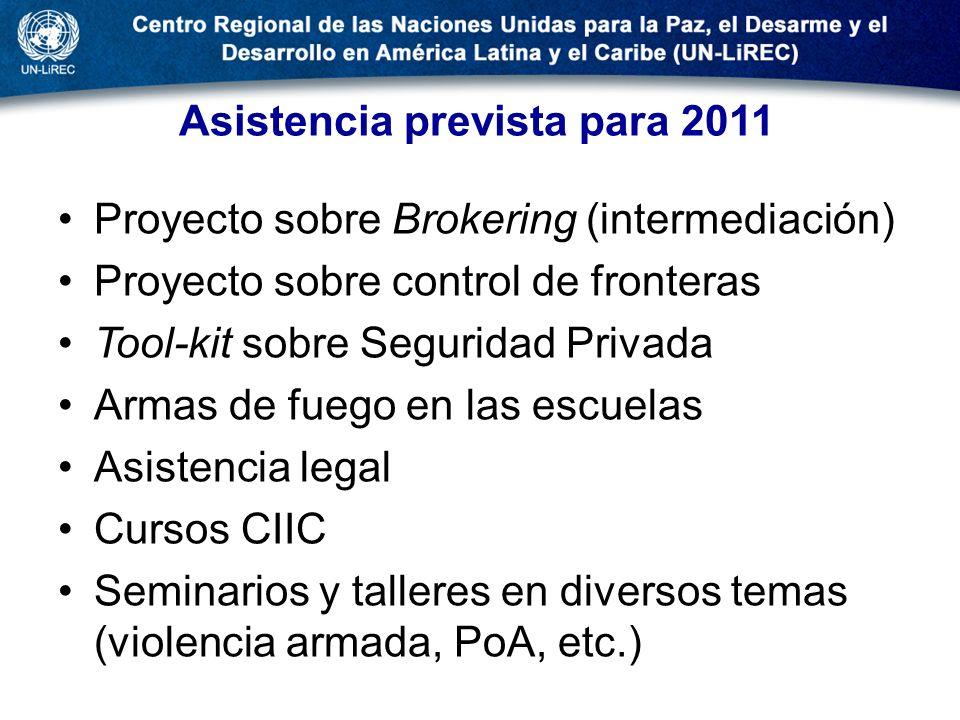 Asistencia prevista para 2011 Proyecto sobre Brokering (intermediación) Proyecto sobre control de fronteras Tool-kit sobre Seguridad Privada Armas de