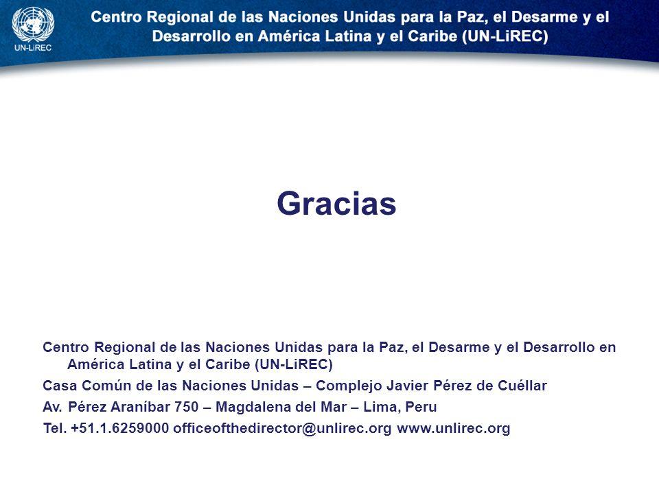 . Gracias Centro Regional de las Naciones Unidas para la Paz, el Desarme y el Desarrollo en América Latina y el Caribe (UN-LiREC) Casa Común de las Na