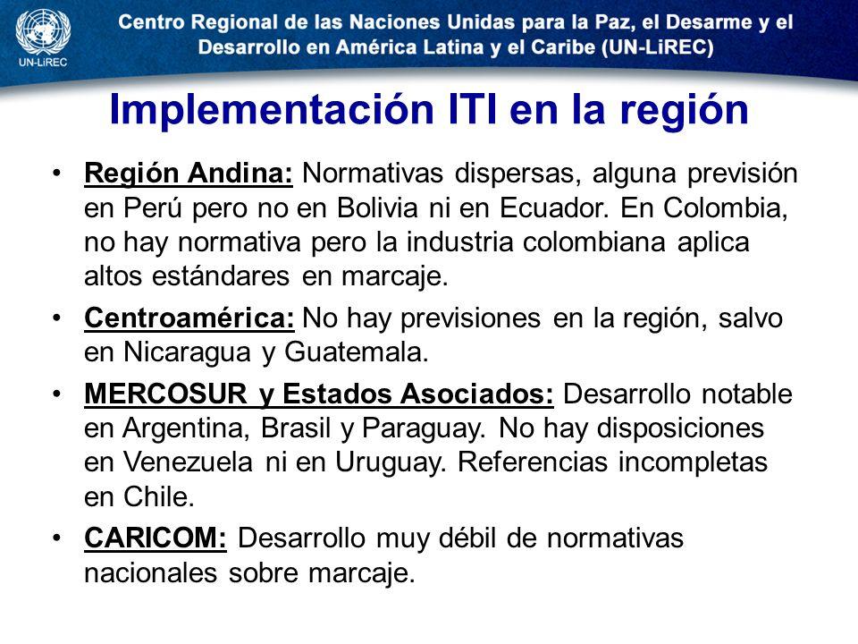 Implementación ITI en la región Región Andina: Normativas dispersas, alguna previsión en Perú pero no en Bolivia ni en Ecuador. En Colombia, no hay no