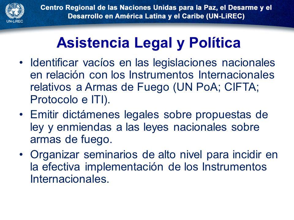 Asistencia Legal y Política Identificar vacíos en las legislaciones nacionales en relación con los Instrumentos Internacionales relativos a Armas de F