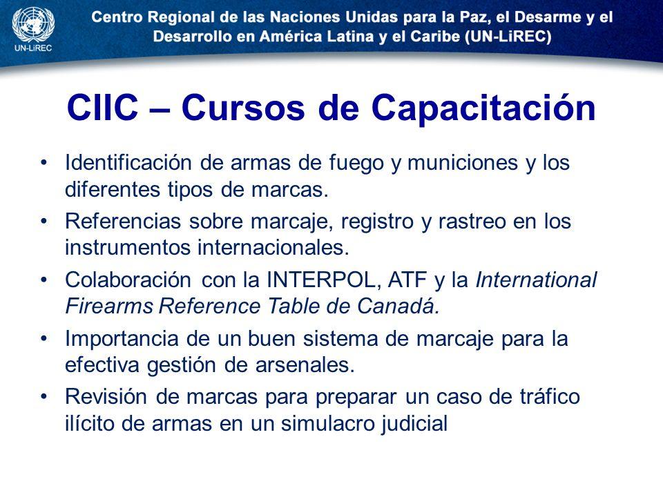CIIC – Cursos de Capacitación Identificación de armas de fuego y municiones y los diferentes tipos de marcas. Referencias sobre marcaje, registro y ra