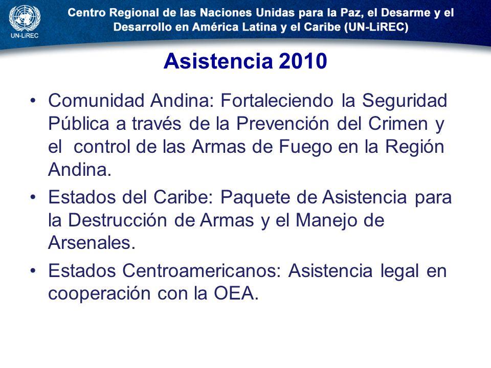 Asistencia 2010 Comunidad Andina: Fortaleciendo la Seguridad Pública a través de la Prevención del Crimen y el control de las Armas de Fuego en la Reg