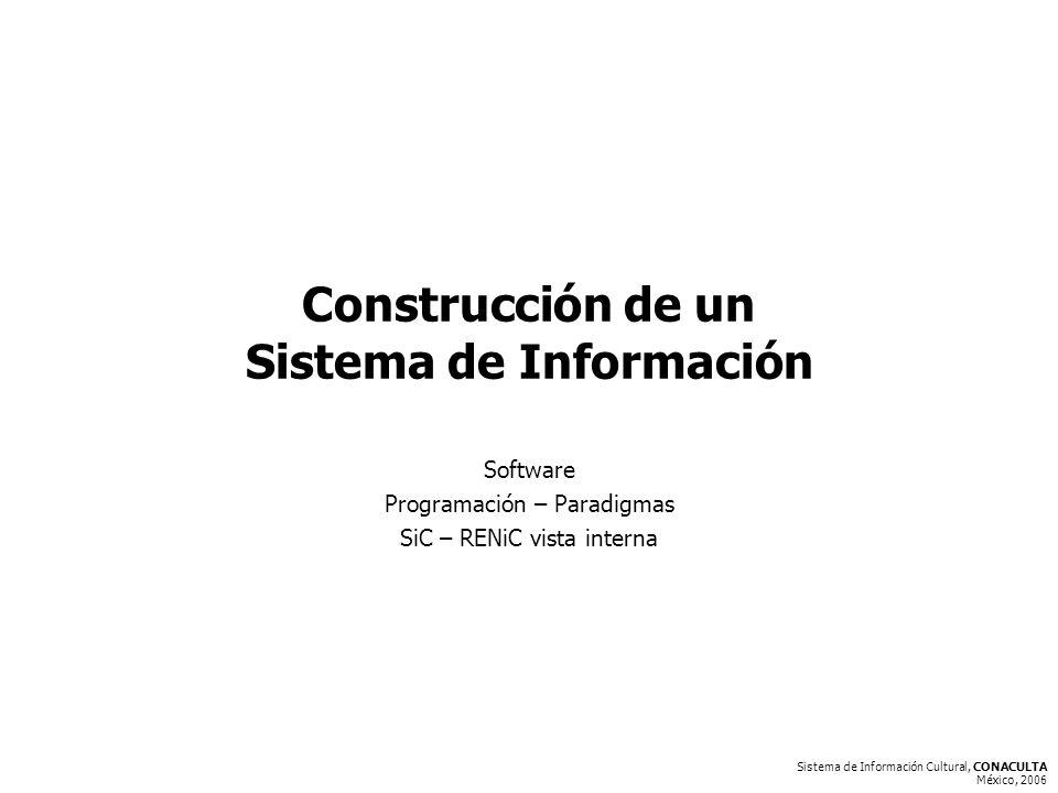 Sistema de Información Cultural, CONACULTA México, 2006 Construcción de un Sistema de Información Software Programación – Paradigmas SiC – RENiC vista interna