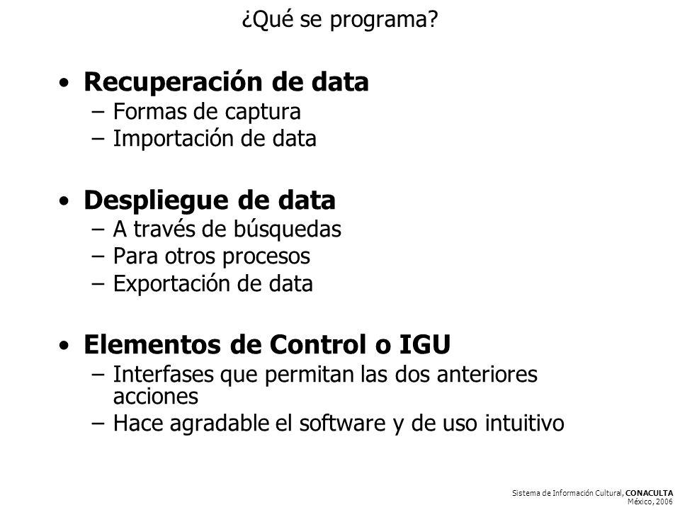 Sistema de Información Cultural, CONACULTA México, 2006 ¿Qué se programa.