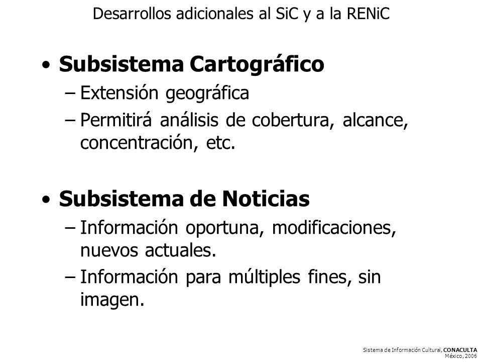 Sistema de Información Cultural, CONACULTA México, 2006 Desarrollos adicionales al SiC y a la RENiC Subsistema Cartográfico –Extensión geográfica –Permitirá análisis de cobertura, alcance, concentración, etc.