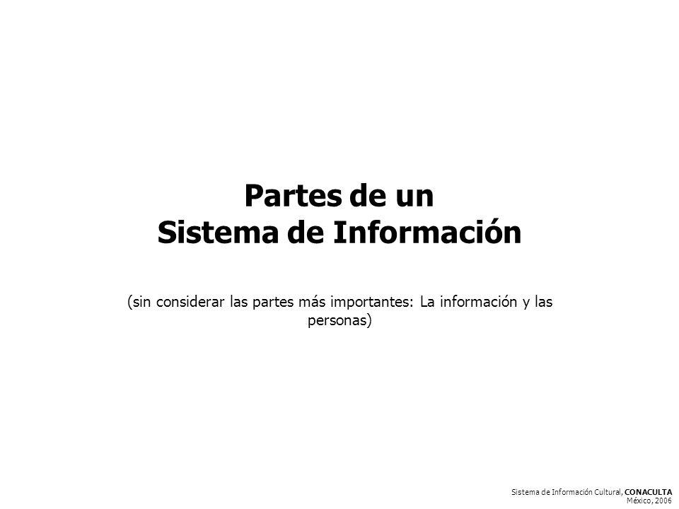 Sistema de Información Cultural, CONACULTA México, 2006 Partes de un Sistema de Información (sin considerar las partes más importantes: La información y las personas)